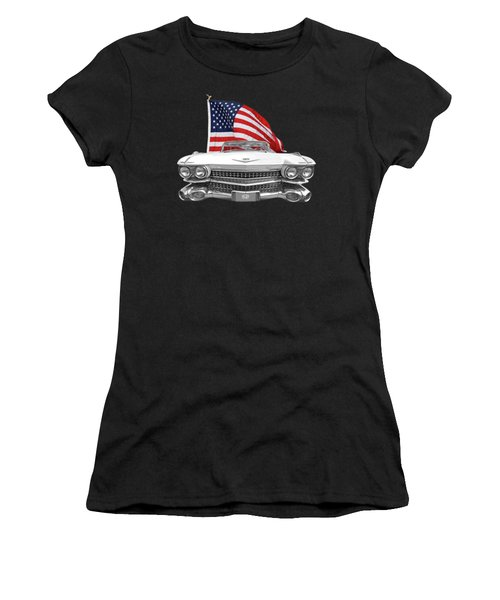 Women's T-Shirt (Junior Cut) featuring the photograph 1959 Cadillac With Us Flag by Gill Billington
