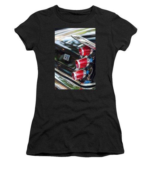 Women's T-Shirt featuring the photograph 1959 Desoto Adventurer Hardtop Coupe 2-door Taillight Emblem by Jill Reger