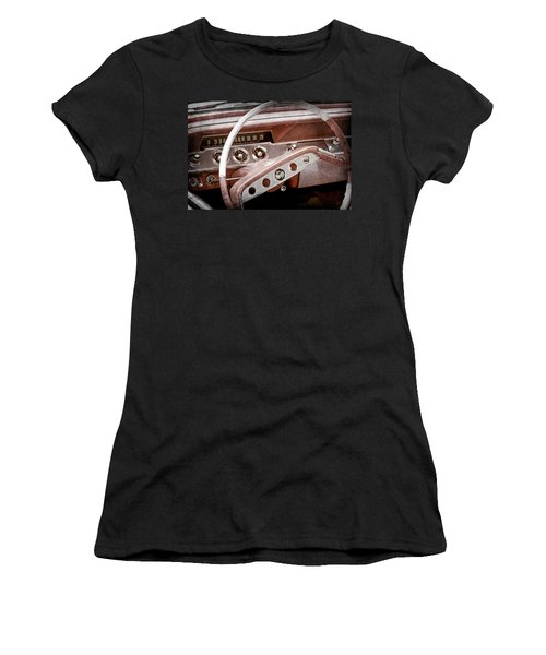 Women's T-Shirt (Junior Cut) featuring the photograph 1961 Chevrolet Impala Ss Steering Wheel Emblem -1156ac by Jill Reger