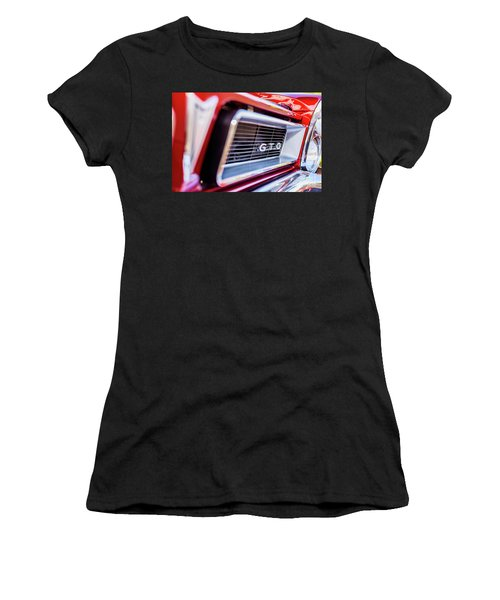 Women's T-Shirt (Junior Cut) featuring the photograph 1965 Red Gto Grill by Aloha Art