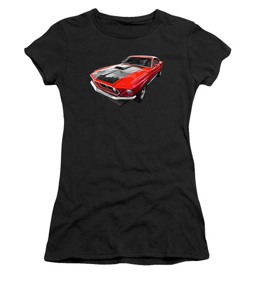 1969 Red 428 Mach 1 Cobra Jet Mustang Women's T-Shirt (Athletic Fit)
