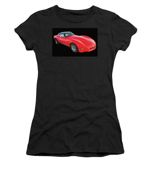 1977 Chevy Corvette T Tops Digital Oil Women's T-Shirt (Athletic Fit)