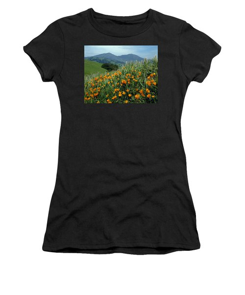 1a6493 Mt. Diablo And Poppies Women's T-Shirt (Athletic Fit)