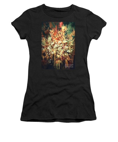 Women's T-Shirt featuring the painting Abstract Flowers by Tithi Luadthong