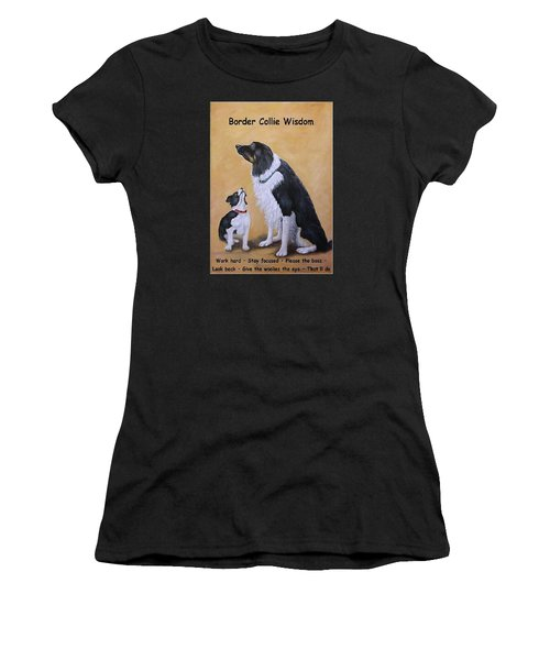 Women's T-Shirt (Junior Cut) featuring the painting Border Collie Wisdom by Fran Brooks