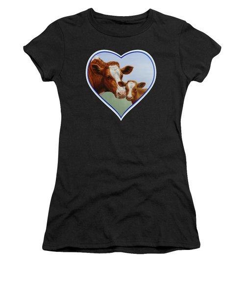 Cow And Calf Blue Heart Women's T-Shirt