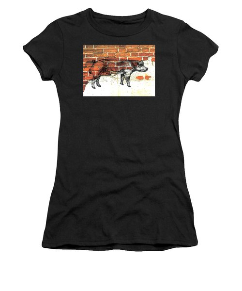Women's T-Shirt (Junior Cut) featuring the photograph Danish Duroc Boar by Larry Campbell