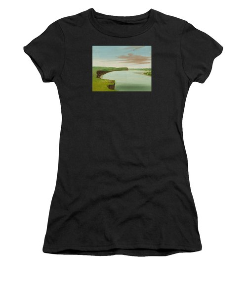 Distant View Of The Mandan Village Women's T-Shirt (Athletic Fit)