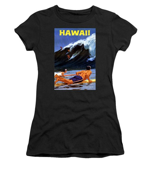 Hawaii Vintage Travel Poster Restored Women's T-Shirt (Athletic Fit)