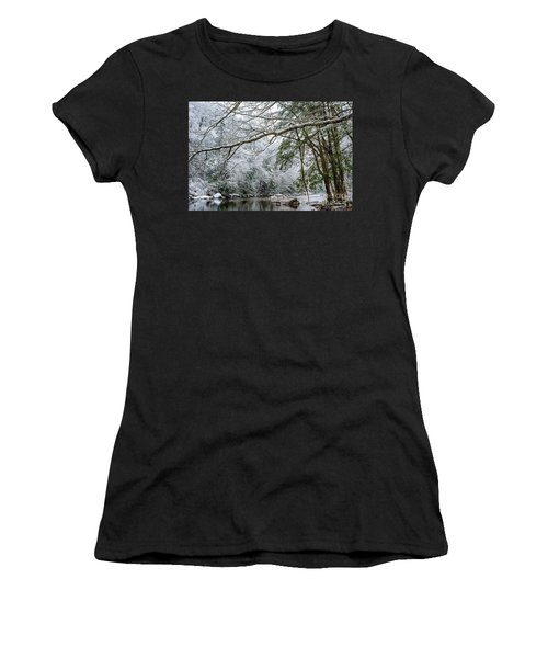 Women's T-Shirt (Junior Cut) featuring the photograph March Snow Along Cranberry River by Thomas R Fletcher
