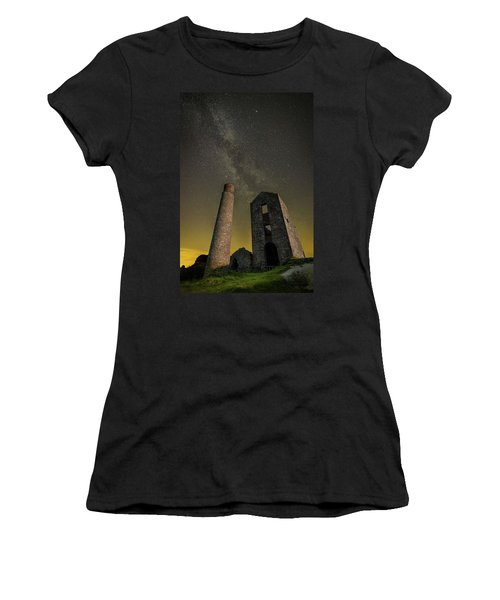 Milky Way Over Old Mine Buildings. Women's T-Shirt (Athletic Fit)