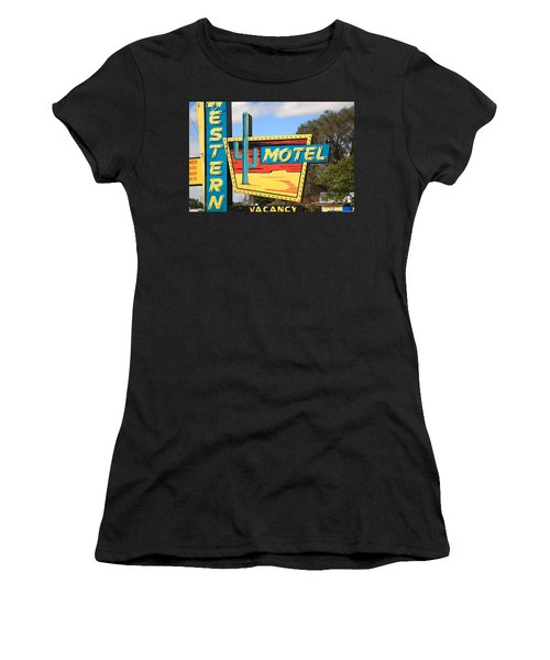 Route 66 - Western Motel Women's T-Shirt (Athletic Fit)