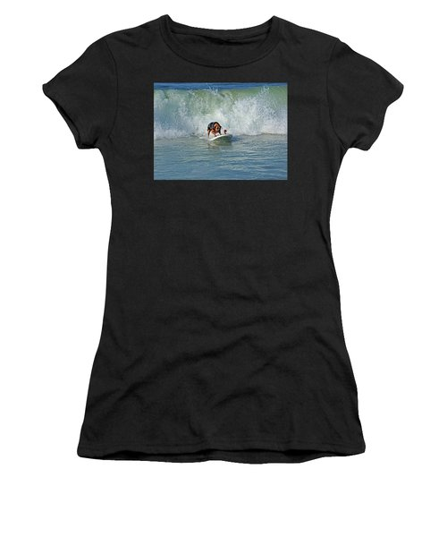 Surfing Dog Women's T-Shirt (Athletic Fit)