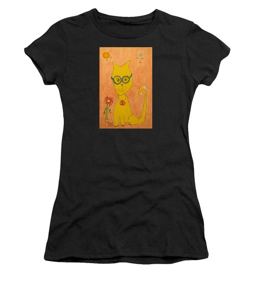 Yellow Cat With Glasses Women's T-Shirt
