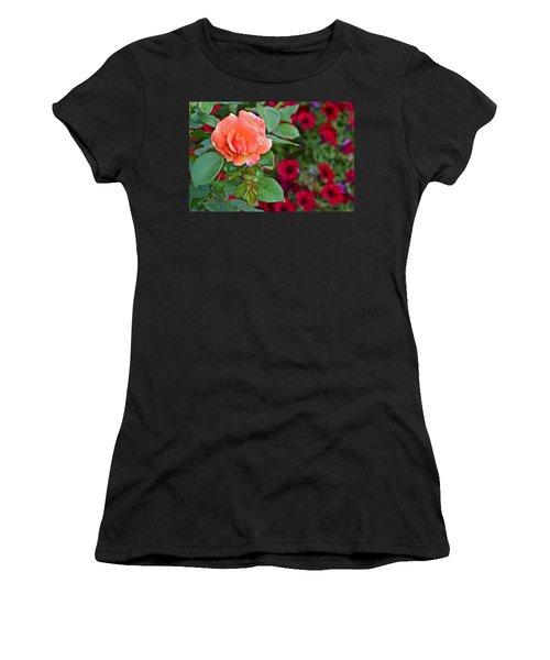 2015 Fall Equinox At The Garden Sunset Rose And Petunias Women's T-Shirt