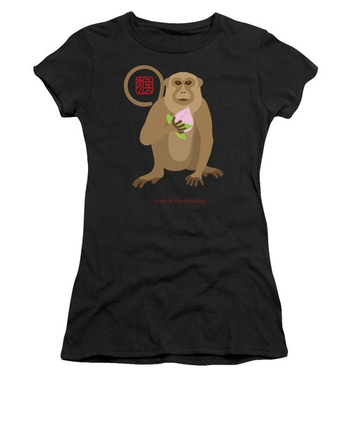 2016 Chinese Year Of The Monkey With Peach Women's T-Shirt (Athletic Fit)