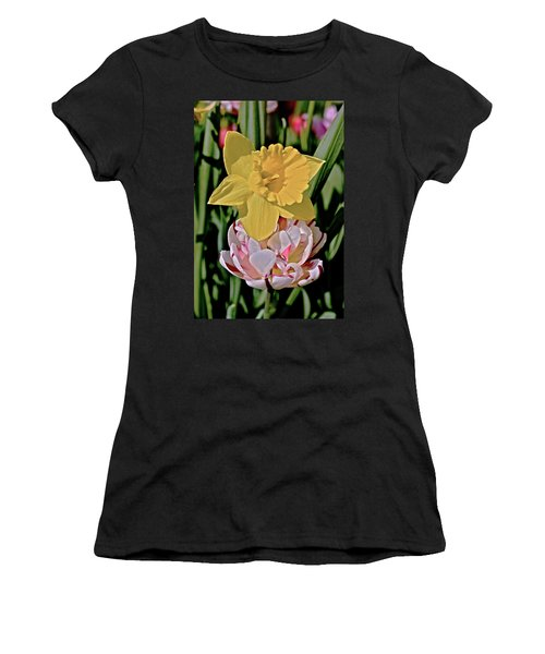 Women's T-Shirt (Athletic Fit) featuring the photograph 2018 Acewood Tulips Daffodil With Tulips by Janis Nussbaum Senungetuk