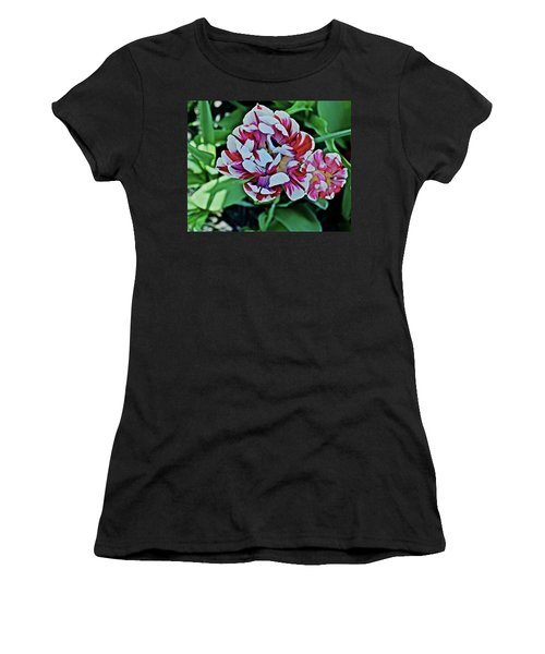 Women's T-Shirt (Athletic Fit) featuring the photograph 2018 Acewood Tulips Red And White 1 by Janis Nussbaum Senungetuk