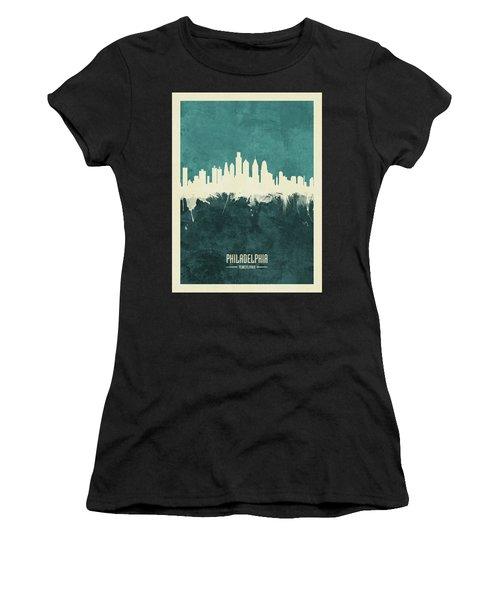 Philadelphia Pennsylvania Skyline Women's T-Shirt (Athletic Fit)