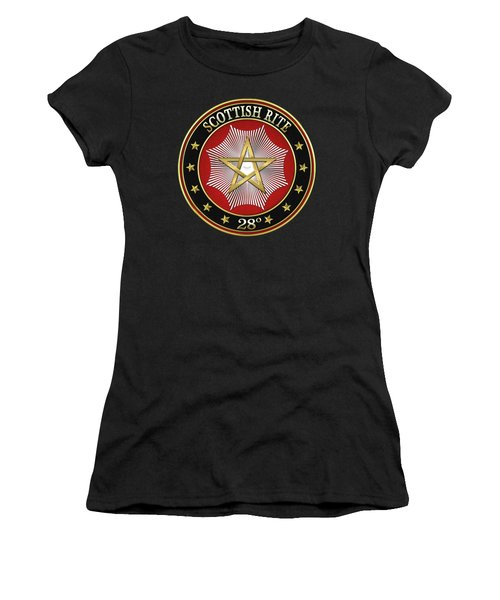 28th Degree - Knight Commander Of The Temple Jewel On Black Leather Women's T-Shirt (Junior Cut) by Serge Averbukh