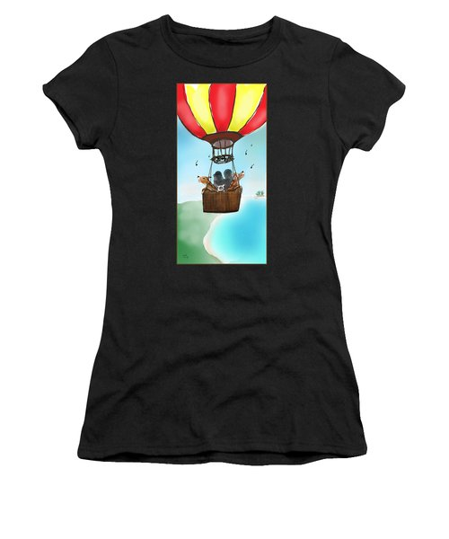 3 Dogs Singing In A Hot Air Balloon Women's T-Shirt
