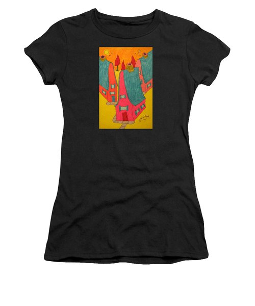 3 Homes With Three Red Trees Women's T-Shirt (Athletic Fit)