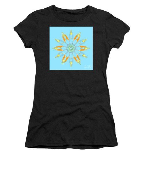 Mandala Cyan And Orange, Star, Abstract Star, Birthday Gift Women's T-Shirt