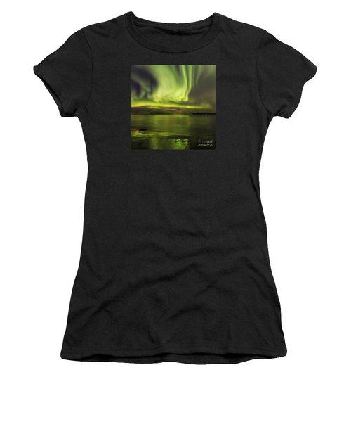 Northern Lights Reykjavik Women's T-Shirt (Athletic Fit)