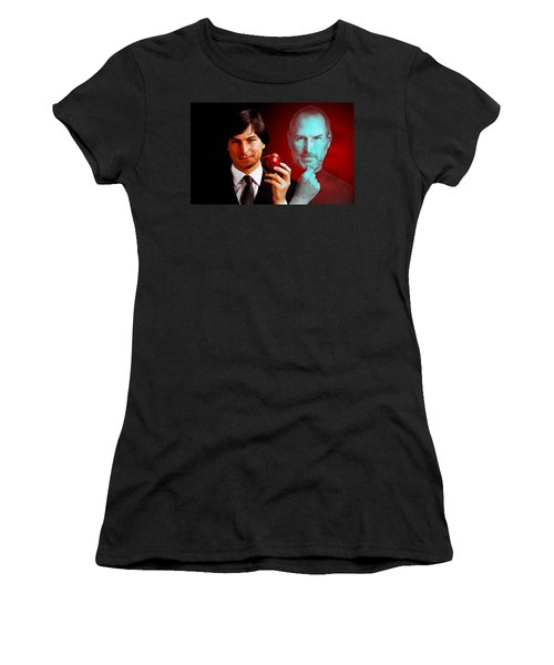 Women's T-Shirt (Junior Cut) featuring the mixed media Steve Jobs by Marvin Blaine