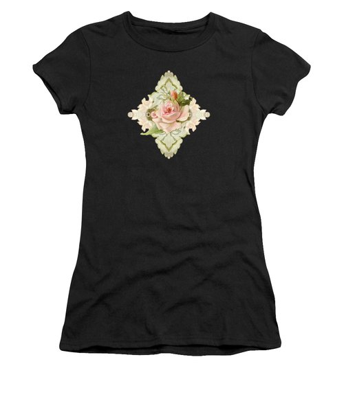 Summer At The Cottage - Vintage Style Damask Roses Women's T-Shirt (Athletic Fit)
