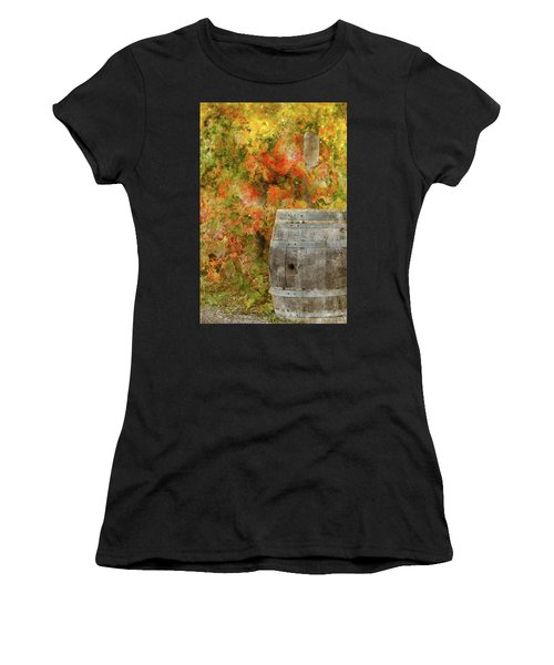 Wine Barrel In Autumn Women's T-Shirt