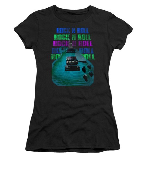 Women's T-Shirt (Athletic Fit) featuring the photograph Colorful Music Rock N Roll Guitar Retro Distressed  by Guitar Wacky
