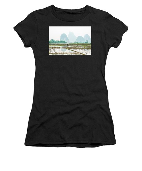 Karst Rural Scenery In Spring Women's T-Shirt (Athletic Fit)