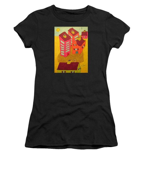5 Bldgs Cat On One Roof Women's T-Shirt (Athletic Fit)