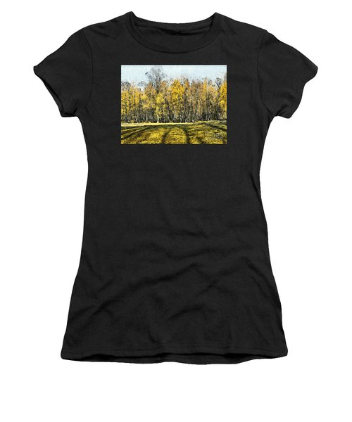 Watercolor Landscape Autumn Painting Forest Women's T-Shirt
