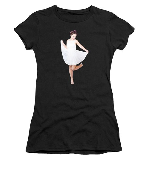 50s Pinup Woman In White Dress Dancing Women's T-Shirt