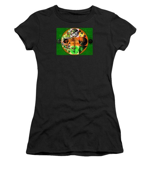 Women's T-Shirt (Junior Cut) featuring the digital art Abstract Painting - Lincoln Green by Vitaliy Gladkiy