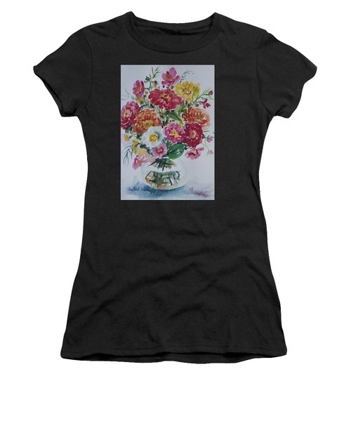 Women's T-Shirt featuring the painting Floral Still Life by Ingrid Dohm