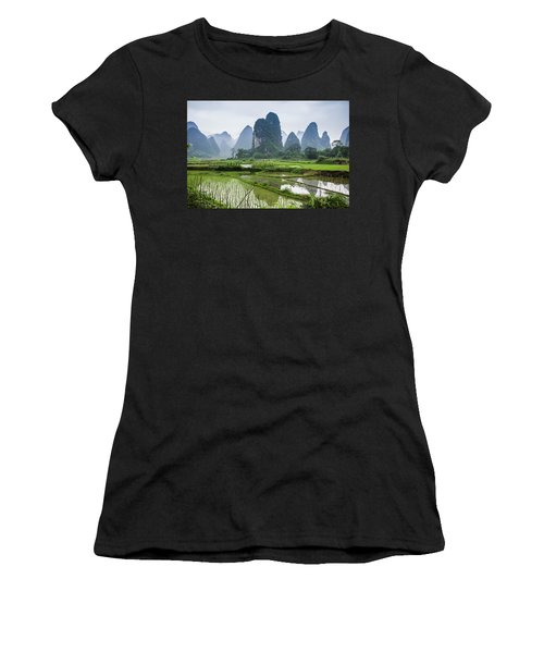 The Beautiful Karst Rural Scenery In Spring Women's T-Shirt (Athletic Fit)