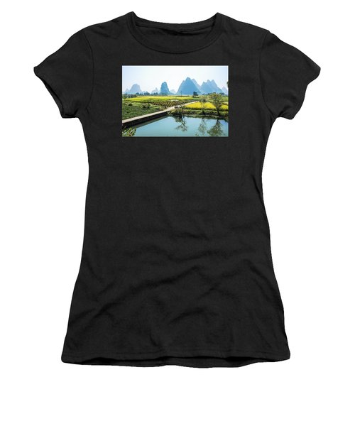 Rice Fields Scenery In Autumn Women's T-Shirt (Athletic Fit)