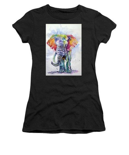 Colorful Elephant Women's T-Shirt (Athletic Fit)