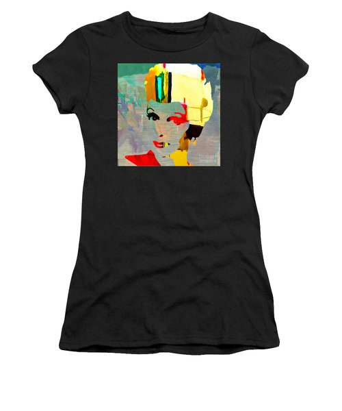 Women's T-Shirt (Junior Cut) featuring the mixed media Lucille Ball by Marvin Blaine