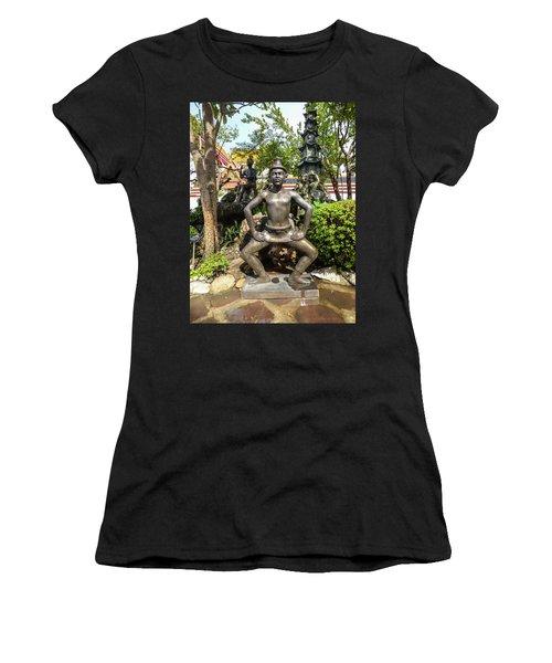Thai Yoga Statue At Famous Wat Pho Temple Women's T-Shirt (Athletic Fit)