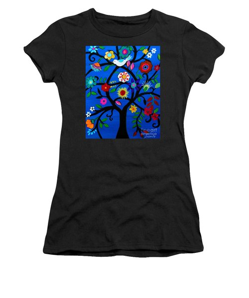 Women's T-Shirt (Athletic Fit) featuring the painting Tree Of Life by Pristine Cartera Turkus