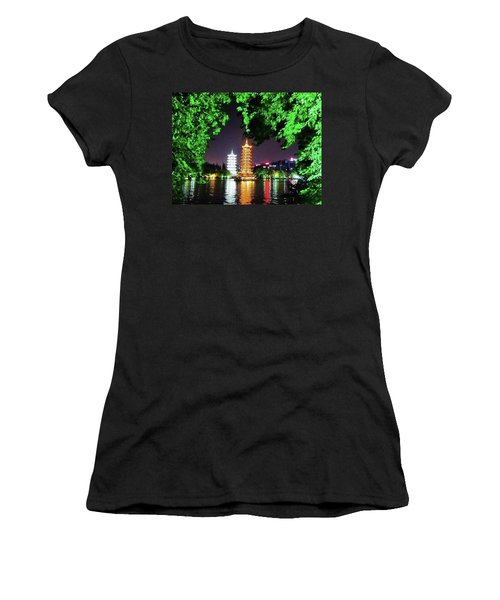 Sun And Moon Pagoda Green Leaves Women's T-Shirt