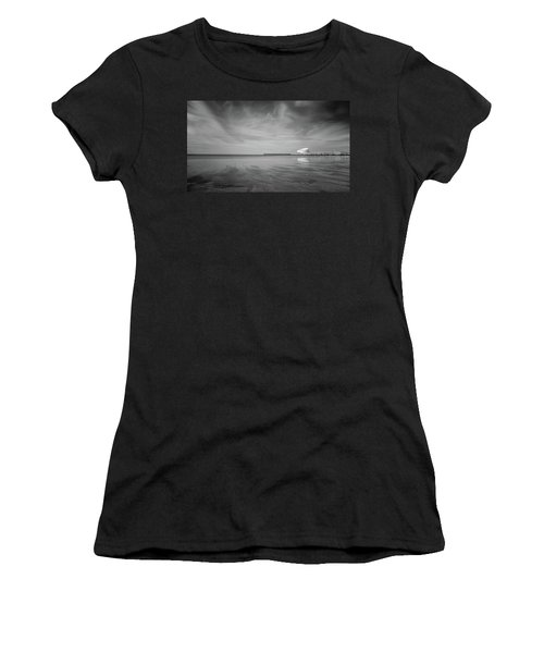 Women's T-Shirt featuring the photograph A Beach And A Bunch Of Birds by Bruno Rosa