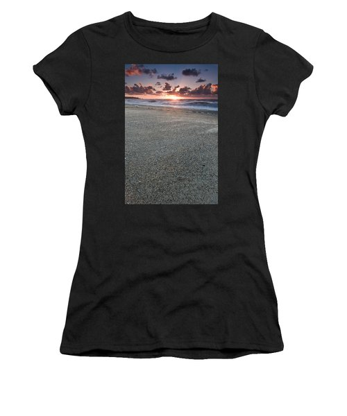 A Beach During Sunset With Glowing Sky Women's T-Shirt (Athletic Fit)