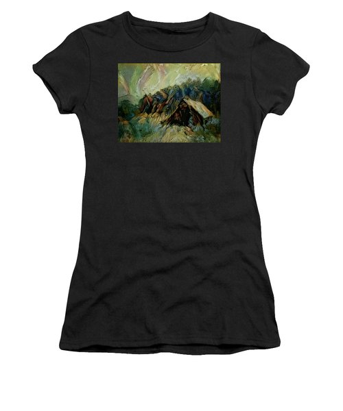 A Chance In The World Movie Dark Barn Crowded Into A Gully Between A Large Rocky Hill And A Grove Of Women's T-Shirt (Junior Cut) by Mendyz