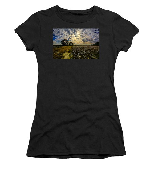 Women's T-Shirt (Junior Cut) featuring the photograph A Cotton Field In November by John Harding