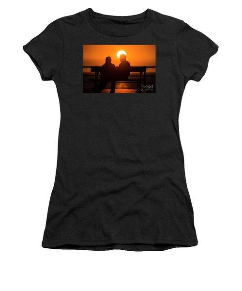 A Couple Sitting At Sunset Women's T-Shirt